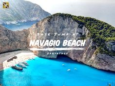 Navagio Beach, one if the most beautiful and insane Base Jump spots on the planet.   #navagiobeach #zakynthos #greece #beach #water #basejump #paradise #vacation #holiday #adventure #wanderlust