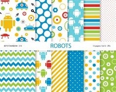 Robot paper pack robot digital paper robot party by BetsyRainbow