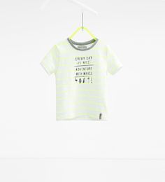 Image 1 of Stripes and text T-shirt from Zara