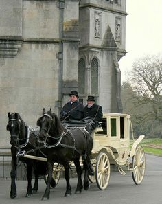 horse drawn carriage at Adare Manor Hotel Adare Manor, London Tourist Guide, English Country Manor, Horse Drawn Wagon, Old Wagons, Horse And Buggy, Chuck Wagon, Gypsy Wagon, Horse Carriage