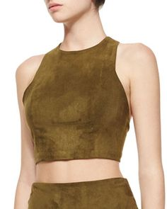 Suede  Racerback Crop Top, Olive by Alice & Olivia at Neiman+Marcus.