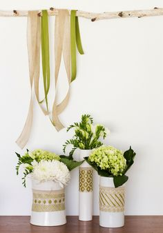 Add fabric and twine to simple vases.