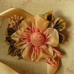 Image of Antique Inspired Ribbon Flower Corsage #109
