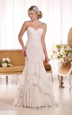Vintage inspired tiered lace #weddingdress from #EssenseofAustralia