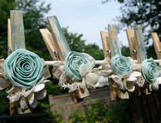Shabby chic clothes pins for banner #Baby #shower #planning