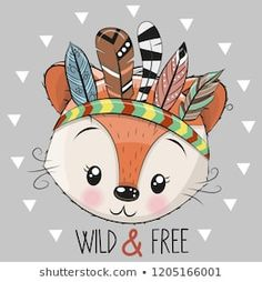 Illustration about Cute Cartoon tribal Fox with feathers on a grey background. Illustration of indian, head, design - 129078427 Disney Tattoos, Owl Vector, Vector Free, Art Drawings For Kids, Art For Kids, Cute Cartoon, Cartoon Art, Lion Tribal, Colorful Pictures