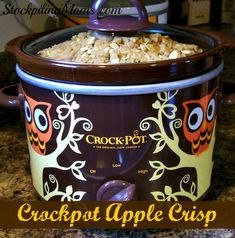 Crockpot Apple Crisp recipe is a great slow cooker Fall dessert!