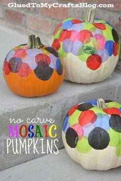 No Carve Mosaic Pumpkins - Kid Craft #ad Kid crafts kid craft ideas #kids #craft