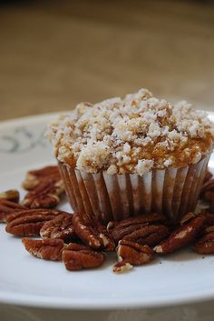 Pumpkin and Cream Cheese Muffins with Pecan Streusel - Lovin' From The Oven