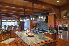 Timber Home Kitchens | Timber Frame Home Kitchen Lake Travis12