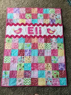 Quilt for a Girl, Baby Quilt, Baby Name Quilt, Special Birthday Gift, Toddler Girl Quilt, Pink Quilt Baby Quilts Easy, Baby Clothes Quilt, Quilted Baby Blanket, Baby Girl Quilts, Pink Quilts, Girls Quilts, Scrappy Quilts, Baby Boy Quilt Patterns, Special Birthday Gifts