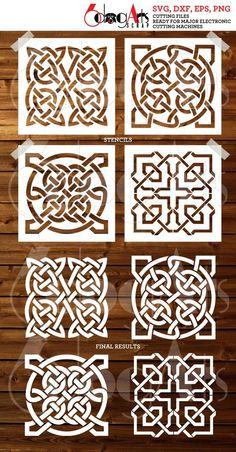 4 Digital Tile Celtic Design Stencils - vector and Stencil Templates, Stencil Designs, Tile Stencils, Stenciling, Celtic Patterns, Celtic Designs, Motif Arabesque, 3d Laser Printer, Grafik Design