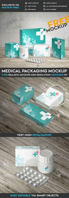 Medical Packaging - Free PSD Mockup on Behance Own Business Ideas, Medical Packaging, Good Advertisements, Advertising, Medical Office Design, Print Packaging, Product Packaging, Brand Identity Design, Portfolio Design