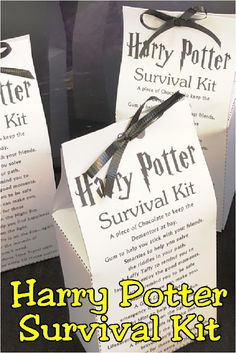 Harry Potter Survival Kit - Harry Potter Survival Kit – DIY Party Mom Best Picture For useful crafts For Your Taste You are - Baby Harry Potter, Harry Potter Motto Party, Harry Potter Thema, Harry Potter Classroom, Harry Potter Baby Shower, Harry Potter Food, Harry Potter Wedding, Harry Potter Candy, Harry Potter Printables