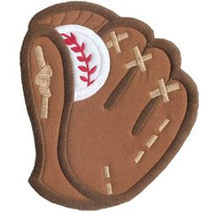 Shoply.com -Baseball and Mitt Applique Machine Embroidery Design in 4 Sizes. Only $2.99