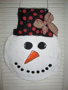 Snowman Christmas Burlap Door Hanger Door by nursejeanneg on Etsy: