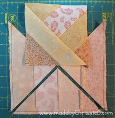 I like this jelly roll block made by ChrissieD: Introducing Autumn's Golden Gown - A Jelly Roll Quilt Tute Jellyroll Quilts, Scrappy Quilts, Easy Quilts, Patchwork Quilting, Jelly Roll Quilt Patterns, Quilt Block Patterns, Quilt Blocks, Dress Patterns, Quilting Tutorials