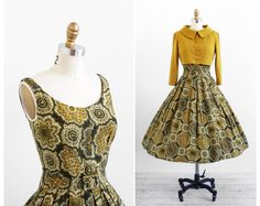 vintage 1950s dress / 50s dress / Green Dress by RococoVintage