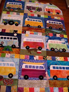 volkswagon van quilt - have this pattern - somewhere! Applique Patterns, Applique Quilts, Quilt Patterns, Boy Quilts, Quilt Baby, House Quilts, Volkswagon Van, Volkswagen Bus, Quilting Projects