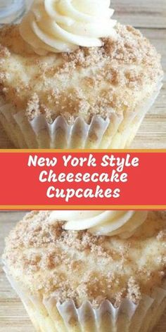 When I make these New York Style Cheesecake Cupcakes, people just RAVE about them! The crumbled graham crackers sprinkled on top add the flavor of a cheesecake base. Cheesecake Cupcakes, Cheesecake Recipes, Cupcake Recipes, Baking Recipes, Cookie Recipes, Cupcake Cakes, Dessert Recipes, Cup Cakes, Cream Cheese Cupcakes