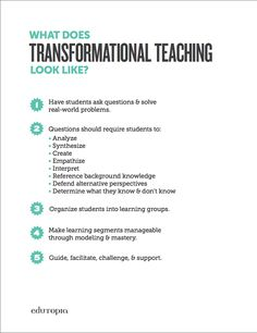 [free download] These 5 tips are a great reminder of what a transformational teacher looks like. Put it up in your classroom and check-in when needed.