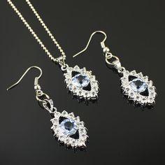 Pas cher bleu clair strass collier fixe