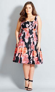 City Chic - SPANISH ROSE DRESS - Women's Plus Size Fashion