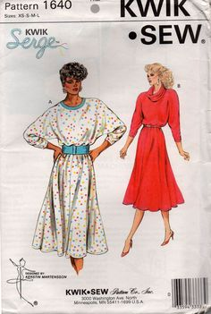 Kwik Sew 1640 Womens 80s Stretch Batwing or Cowl Neck Dress Vintage Sewing Pattern Size XS S M L UNCUT Factory Folded