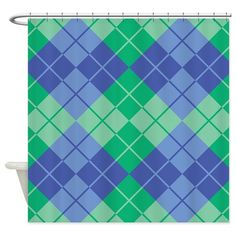 Blue-Green Argyle Shower Curtain on CafePress.com
