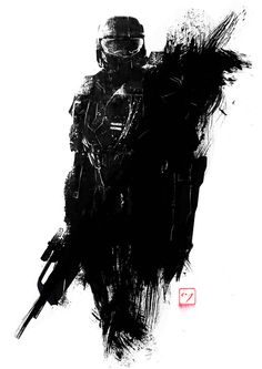 """""""Master Chief, stationary pose, with battle rifle"""" Halo"""