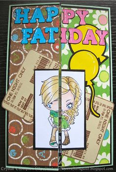 "Half Father's Day - half birthday card. Made using The Greeting Farm's ""Sasha"" and ""Sunday"" who were cut in half and coloured with Prismacolor pencils. Letters cut from Cricut Birthday Bash cartridge and balloons from Create-A-Critter. Ticket stamp from Unity ""One Night Only""."