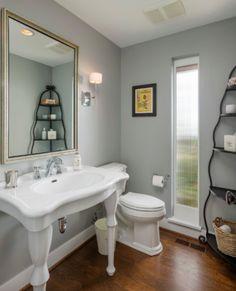 Benjamin Moore Coventry Gray Design Ideas, Pictures, Remodel and Decor Decor, Gray And White Bathroom, Room Design, Farmhouse Bathroom, Powder Room Design, House Styles, Home Decor, Coventry Gray, Grey Bathrooms