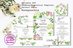 This is editable, printable wedding invitation PDF perfect suite with my honeysuckle clipart. You can get every wedding stationary you need at once with this Printable Wedding Invitations, Wedding Invitation Suite, Wedding Stationary, Page Table, Menu Cards, Thank You Cards, Diy Wedding, Wedding Colors, Rsvp