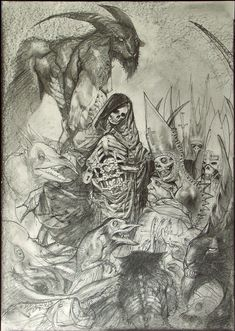Comic artist Simon Bisley creates an illustrated version of the Bible, including scenes from the Fall of Lucifer