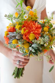 amazing summer bouquet of oranges, yellows, and succulents Orange Wedding Flowers, Yellow Wedding, Flower Bouquet Wedding, Floral Wedding, High Tea Wedding, Summer Wedding, Bride Bouquets, Floral Bouquets, Warehouse Wedding