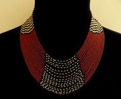 African style beaded multistrand necklace gold black brown with FREE matching bracelet
