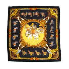 1stdibs | Hermes Silk Black/Gold Carré Scarf by Philippe Ledoux