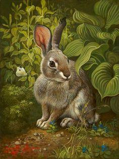 Artist: Yana Movchan Title: Rabbit in the Garden Art And Illustration, Animal Original, Rabbit Art, Wild Rabbit, Bunny Rabbit, Bunny Art, Woodland Creatures, Wildlife Art, Animal Paintings