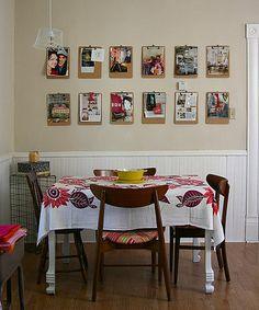 clipboard wall - great idea