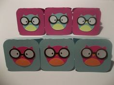 Pink and blue owl mini notecards set of 6 by ThirtytwoFlavors, $5.50