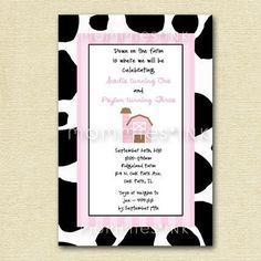 Cow Print Pink Farm Birthday Party Invitation - PRINTABLE INVITATION