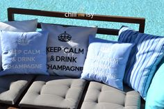 KEEP CALM & DRINK CHAMPAGNE kissen pillow by chillisy® amzn.to/1A0Bxv5