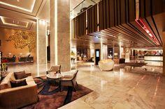 Lobby at Swisstouches Hotel Xi'an, designed by HBA/Hirsch Bedner Associates.
