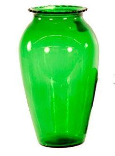 """Vintage 9"""" Bowl Green Glass Vase"""