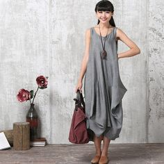 68e122499f9 Casual Loose Fitting Short Sleeved Linen Blend Long Dress - Gray - Women  Maxi dress LYQ 615