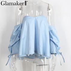 Glamaker Sexy plaid off shoulder blouse shirt Spring striped backless women tops Slim elegant beach blouse blusas