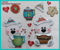 Cocoa Bear Set Premade Paper Piecing Die Cut for Scrapbook Page by Babs