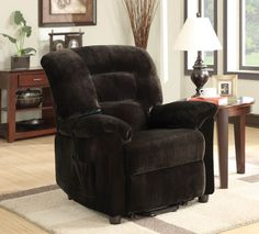 Casual Chocolate Upholstery Motion Fabric Power Lift Recliner