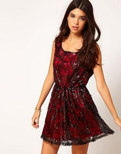 Reminds me of the titanic rose dress only in a modern version. Love it! Pearl Sequin Lace Skater Dress