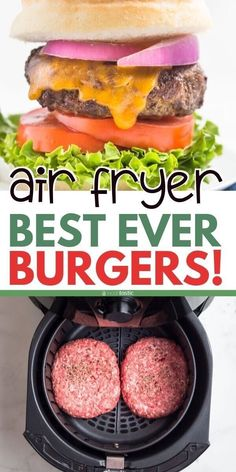 Fryer Hamburgers - We love these Easy Air Fryer Burgers! You can make your own burger patty with beef (or make turkey -Air Fryer Hamburgers - We love these Easy Air Fryer Burgers! You can make your own burger patty with beef (or make turkey - Air Frier Recipes, Air Fryer Oven Recipes, Air Fryer Dinner Recipes, Air Fryer Recipes Hamburger, Air Fryer Chicken Recipes, Air Fryer Recipes Potatoes, Air Fryer Chicken Wings, Make Your Own Burger, Cooks Air Fryer